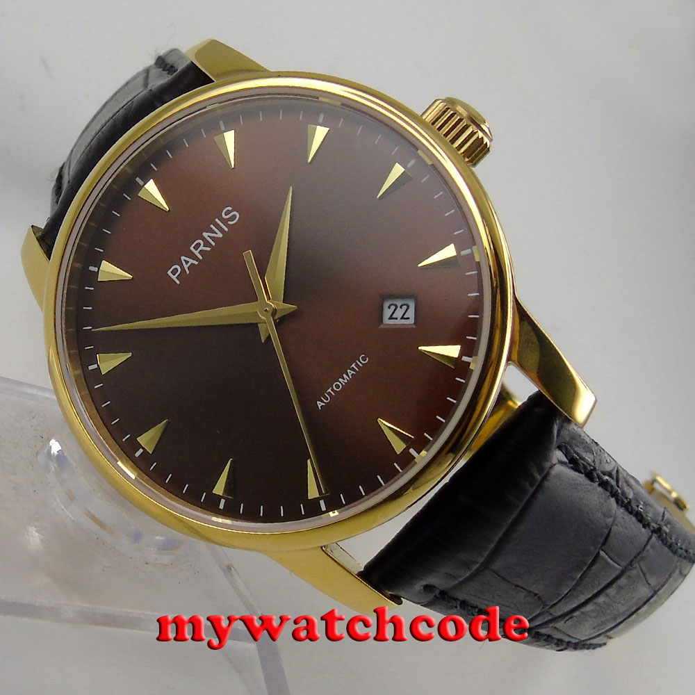 38mm Parnis coffee dial yellow golden case plated miyota automatic mens watch823 image