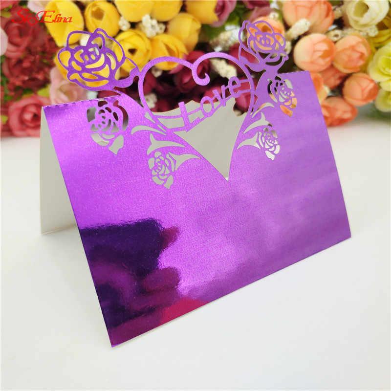 50 adet/takım Düğün Lazer Kesim Aşk güller Parti Iyilik Dekor Yer Kartları Aşk Kalp Hollow Masa Adı beyaz mor gül kırmızı 6Z