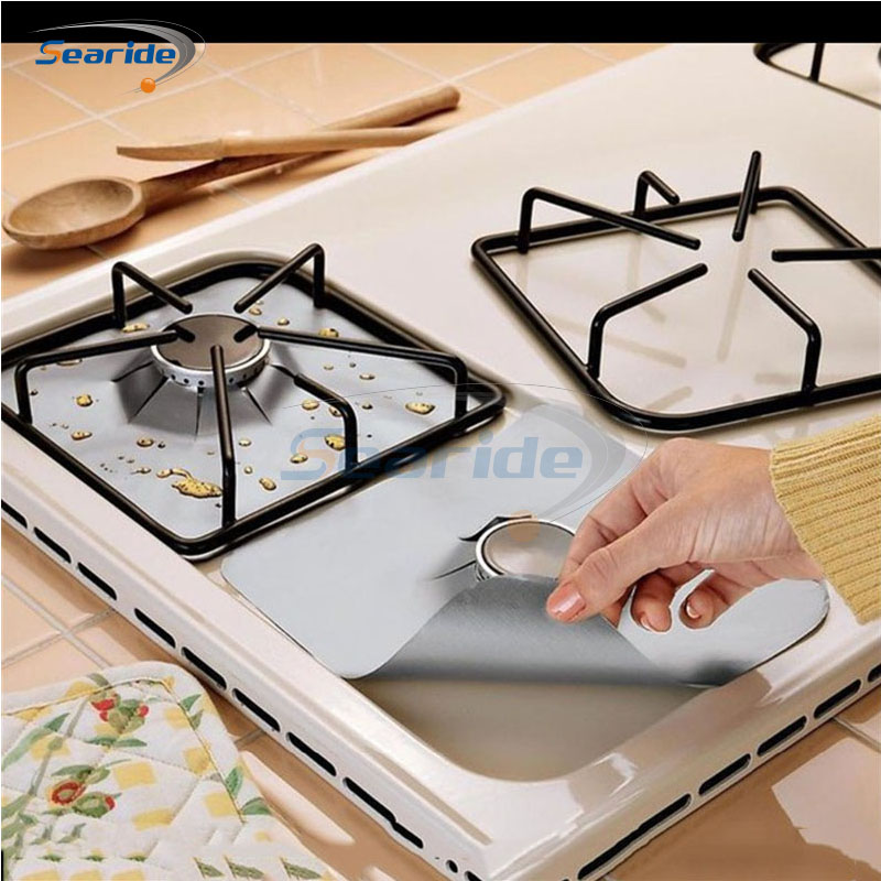 4PCS Reusable Non stick Foil Gas Range Stovetop Burner Protector 27 27cm Liner Cover For Cleaning Kitchen Tools in Cooktop Parts from Home Appliances