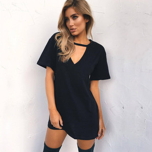 ZSIIBO sexy V-neck cotton 2018 summer women's solid color casual loose dress female A word short mini dress high quality(China)