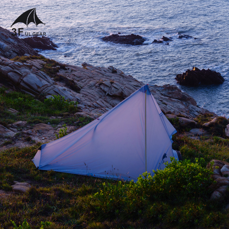 3F UL GEAR 740g Oudoor Ultralight Camping Tent Single Person Professional 15D Nylon Silicon Coating Rodless Tent