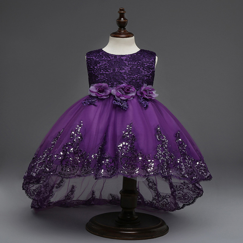 Girls Sequin Lace Tulle Sleeveless Princess Children flower girl dress For Wedding 3-12 Years Girls Party Prom Dresses ems dhl free summer new girls princess dress lace bow v back tulle gauze sequin sparkle sleeveless tiers pearls beaded dress