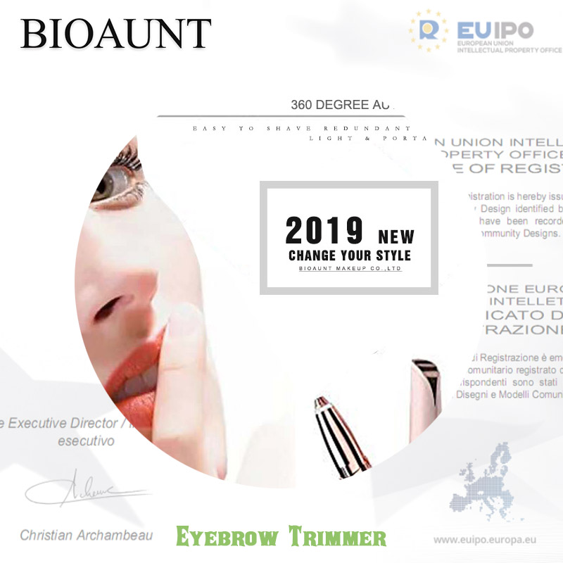 BIOAUNT 1pc Electric Eyebrow Trimmer Makeup Painless Eye Brow Epilator Mini Shaver Razors Portable Facial Hair Remover for Women