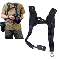 Black Camera Double Shoulder Sling Backpack Belt Quick Rapid Strap For DSLR Digital SLR Camera