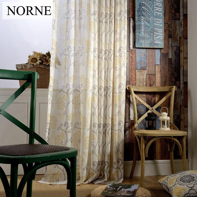 NORNE geometrie gedrukte voile venster semi-pure gordijnen panelen - Thuis textiel