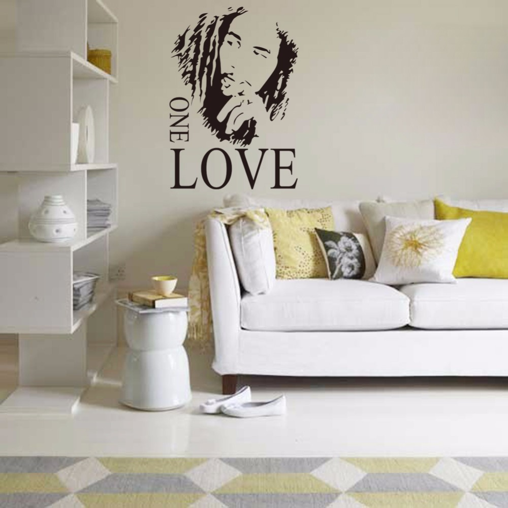 2016 wall stickers home decor one love diy wall sticker quotes decals removable art vinyl letter decal stickers home decoration
