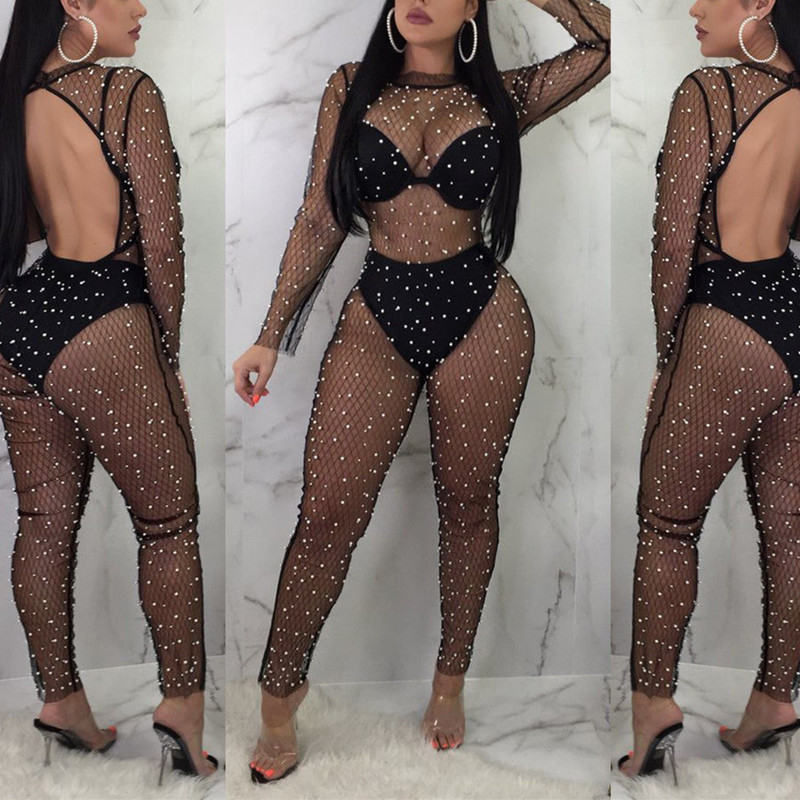Elegant Sexy Jumpsuits Women Long Sleeve Solid Pearl Jumpsuit Loose Trousers Leg Pants Rompers Holiday Leotard Overalls