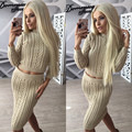 Tracksuits Real Cotton Full None O-neck 2016 Winter Sales Of New Knitted Suit Skirt Sweater + Fashion Thread Warm Two Sets