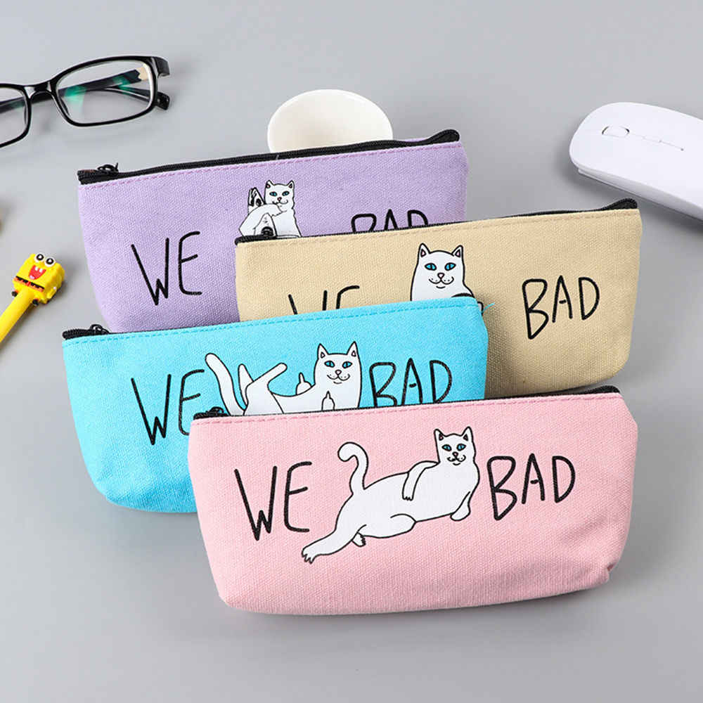 Funny Cat Pencil Case Canvas Pencil Case Kids Gift Makeup Brush Holder Bags HOT