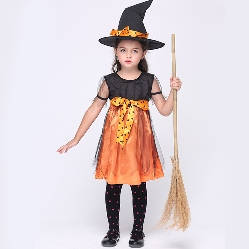 2019 Hot Children Girl Costume Witch Halloween Cosplay Costume Kids Fancy Witch Dress Suitable For 95-135CM