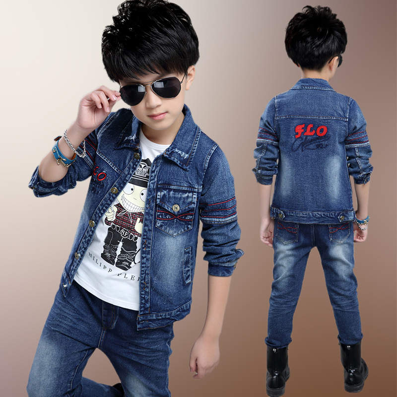 Spring fashion trends new children's jeans suit two pieces 2017 new fashion spring