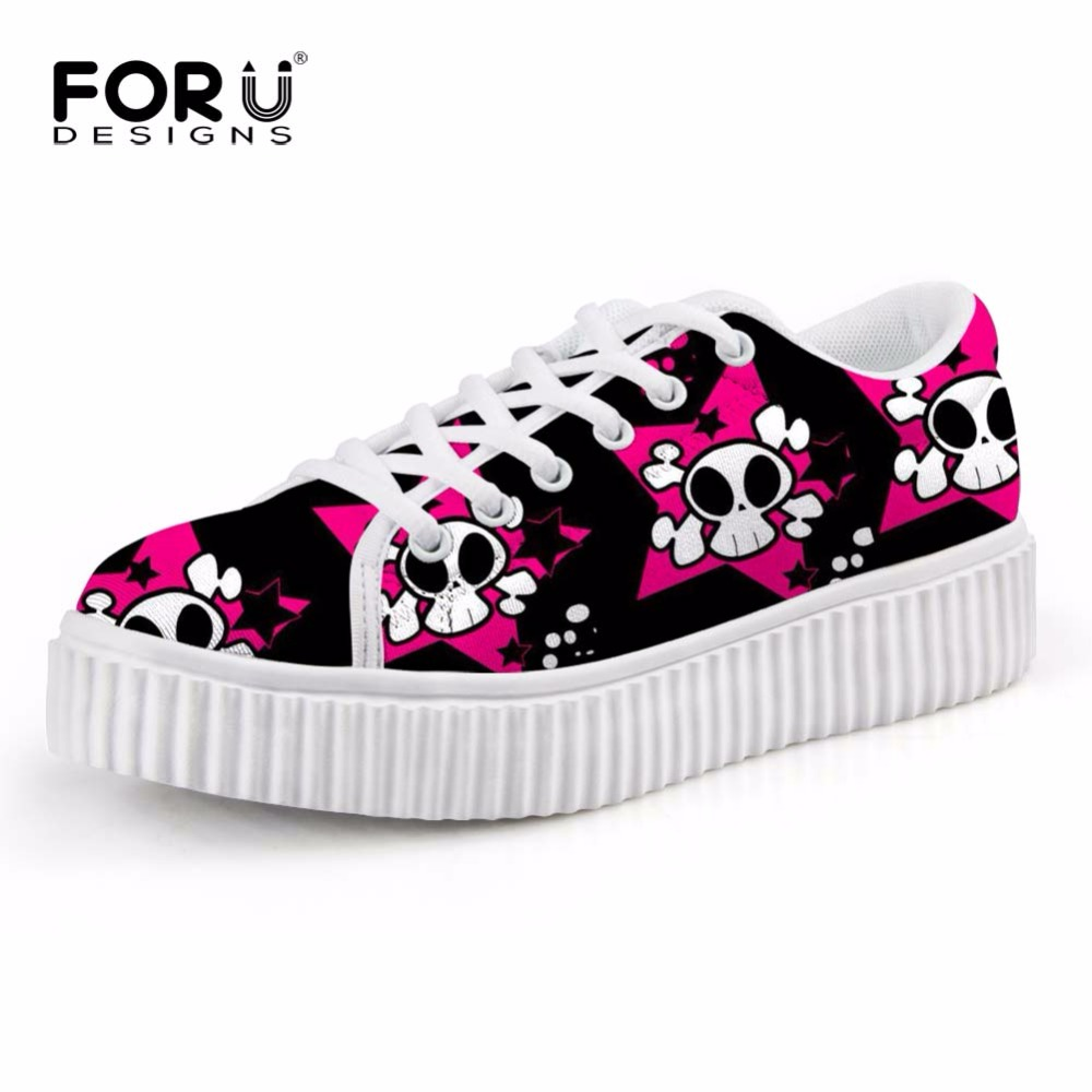FORUDESIGNS Cute Skull Printed Women Autumn Height Increasing Shoes Fashion Low Top Casual Lace-up Female Platform Shoes Woman