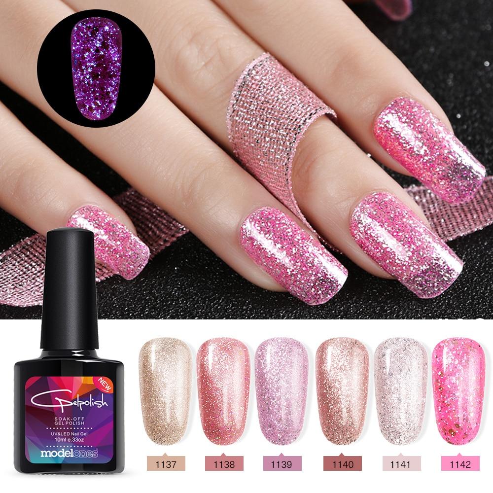 Hot Sale Modelones Luminous Rose Gold UV Nail Gel Polish Nail Art ...