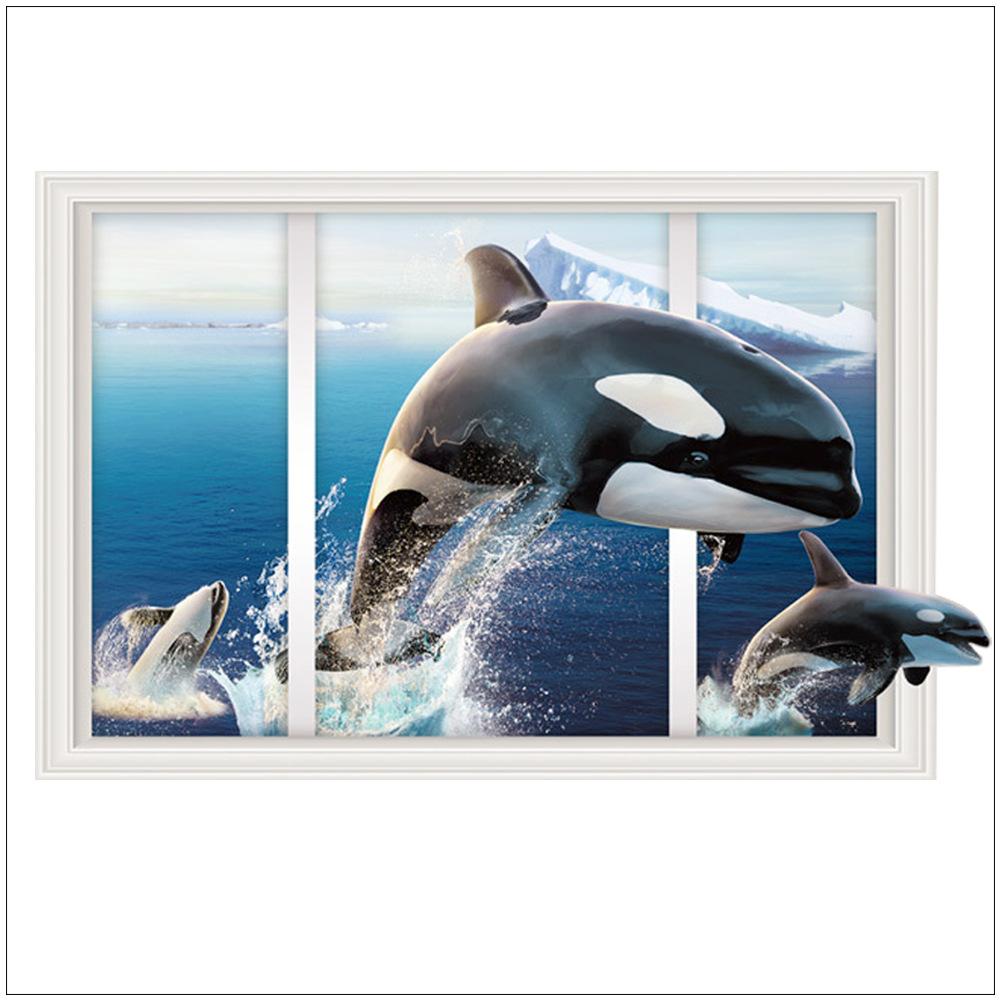 From the window to the wall whale - 3d Wall Stickers Leap Whale Decoration Murals Decorative Arts Living Room Bedroom Home Decoration Accessories Ttl087