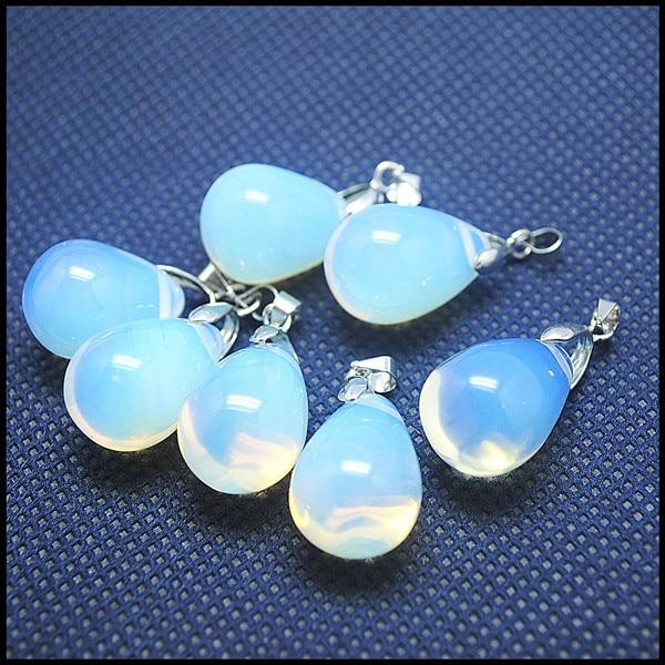 db274bda1b98 15 unids lote blanco OPAL granos pendientes encantos fantásticos cristal colgante  moda joyería accesorios tamaño 14x20mm