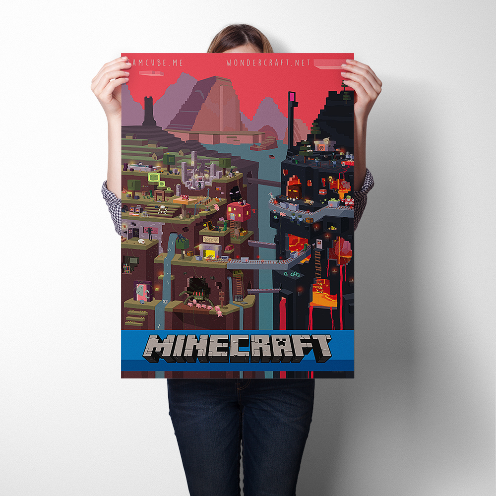Minecraft Game Poster Wall Sticker Art Print Silk Fabric