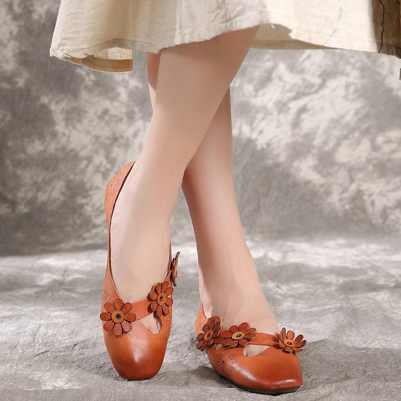 Zapatos planos Retro de flores ahuecados con suela suave de punta cuadrada estilo coreano zapatos planos cómodos de primavera y otoño para mujer-in Zapatos planos de mujer from zapatos    2