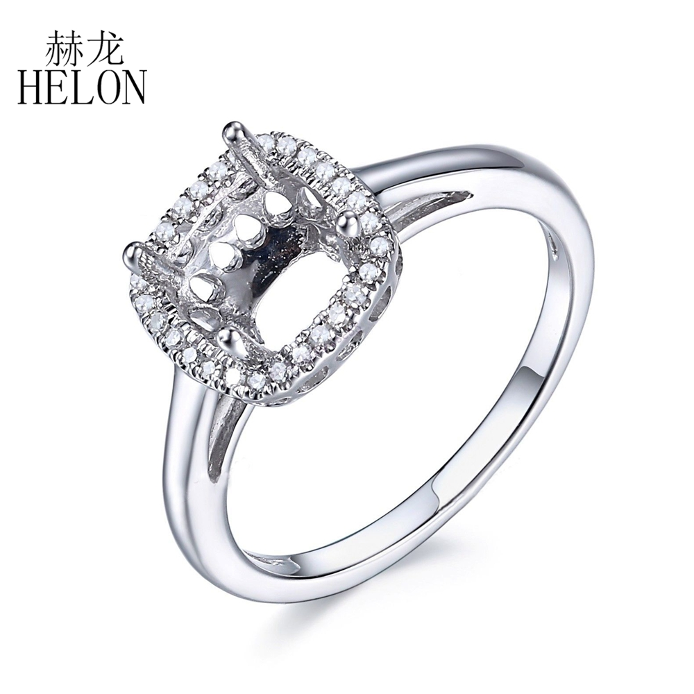 HELON 7X7mm Cushion Cut Solid 10K White Gold Semi Mount Pave Natural Diamonds Ring Engagement & Wedding Diamonds Jewelry RingHELON 7X7mm Cushion Cut Solid 10K White Gold Semi Mount Pave Natural Diamonds Ring Engagement & Wedding Diamonds Jewelry Ring