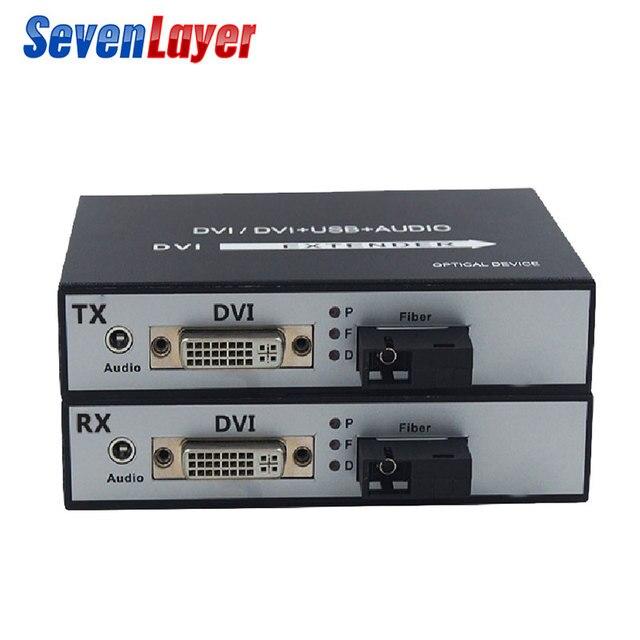 DVI to fiber optic converter 1080P DVI Fiber Optic Video Extender KVM(DVI+USB)To Fiber Mouse and keyboard compressed