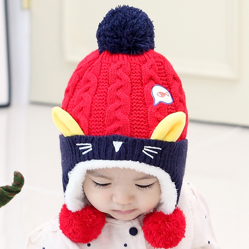 2016 New Winter Autumn Baby Hat Thickening with Velvet Unisex Toddlers Warm Ears Beanie Caps Cute Cartoon Baby Accessories
