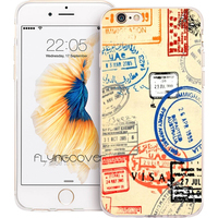 Coque Retro Passport Post Stamps Soft TPU Silicone Phone Cover For IPhone 7 7Plus Case For