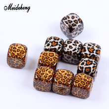 13mm Acrylic Leopard Print Charms Square Beads For Jewelry Making Hair Ornaments Handmade Hair Ring Decoration Accessory coffee square hair ring