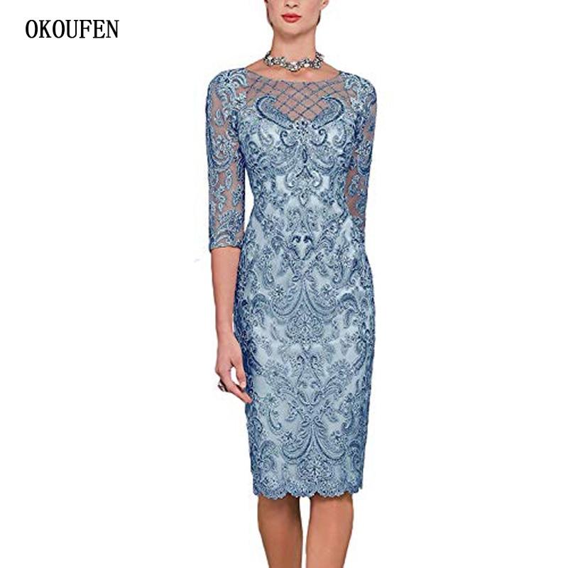 OKOUFEN Short Mother Of The Bride Dresses For Wedding 2019 Sexy Blue Beading 3/4 Sleeve Lace Mother's Kurti Vestido De Madrinha