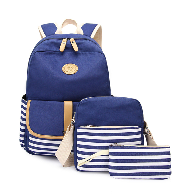 3pcs/set Canvas Fringe Women Backpack Student Book Bag with Purse Laptop Bagpack Lady School Bag for Teenager Girls 1