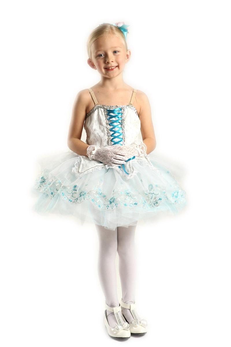 Бела плава Балет хаљина за децу Газа Гимнастика Леотард за девојчице Дечија балетска хаљина за децу професионални балет