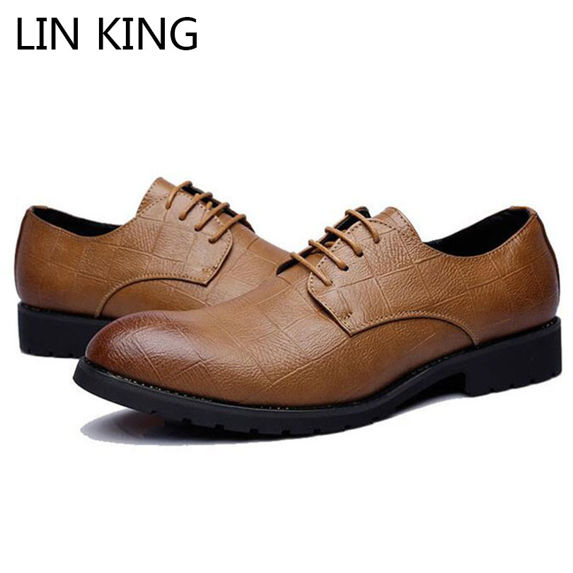 Mens PU Leather Lace up Business Casual Pointed Toe Dress Formal Shoes Plus Size