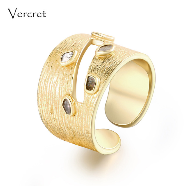 Vercret vintage diamond ring adjustable handmade 925 sterling silver with 18k gold fine jewelry for women as gift