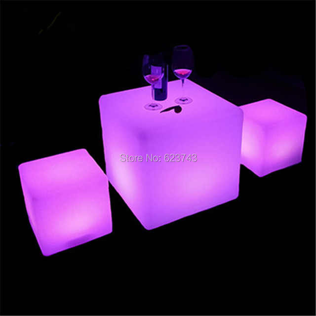 H60CM outdoor Multicolour Big Cube luminous LED Glowing lounge seat bar stools rechargeable cube table for party bar pub decor