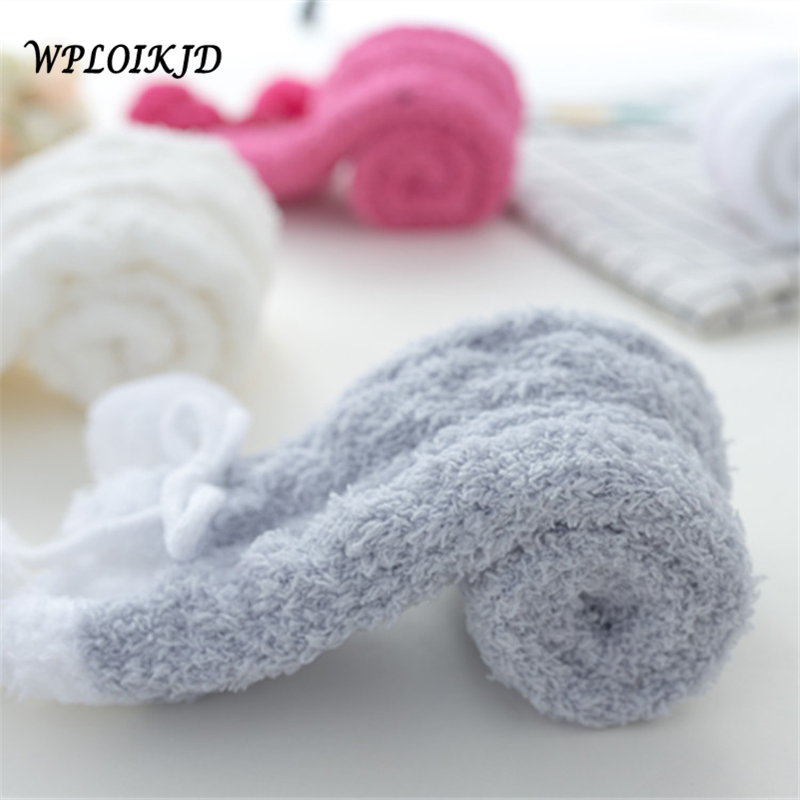 [WPLOIKJD] Women Fluffy Velvet Fuzzy Warm Soft Bed   Socks   Novelty Female Kawaii Comfortable Fluffy Crew Cozy Solid Ankle   Sock   Sox