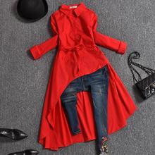 Женская Асимметричная блузка с длинным рукавом и отложным воротником размера плюс, Женская длинная рубашка