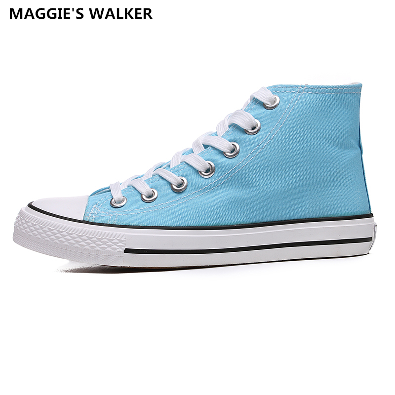 Maggie s Walker Unisex Canvas Shoes Lacing High Top Preppy Style Trendy Candy colored Canvas Casual