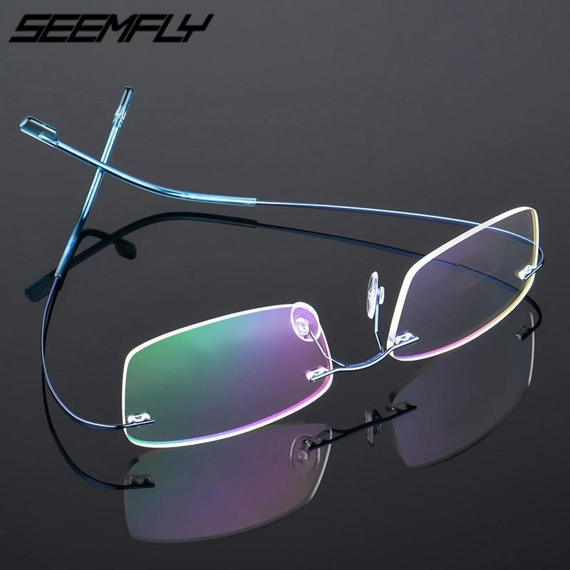 Seemfly Titanium Rimless Men Women Glasses Frames Lightweight Myopia Frame Spectacle Frameless Eyeglasses Optical Frame 7 Colors