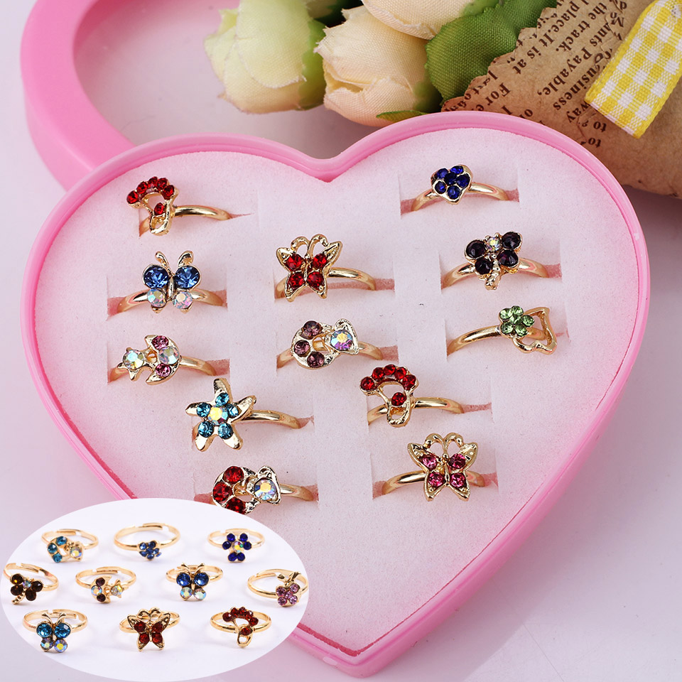 Wholesale 12pcs Mixed Assorted Flower Gold Silver Crystal Adjustable Rings Baby Kids Gir ...