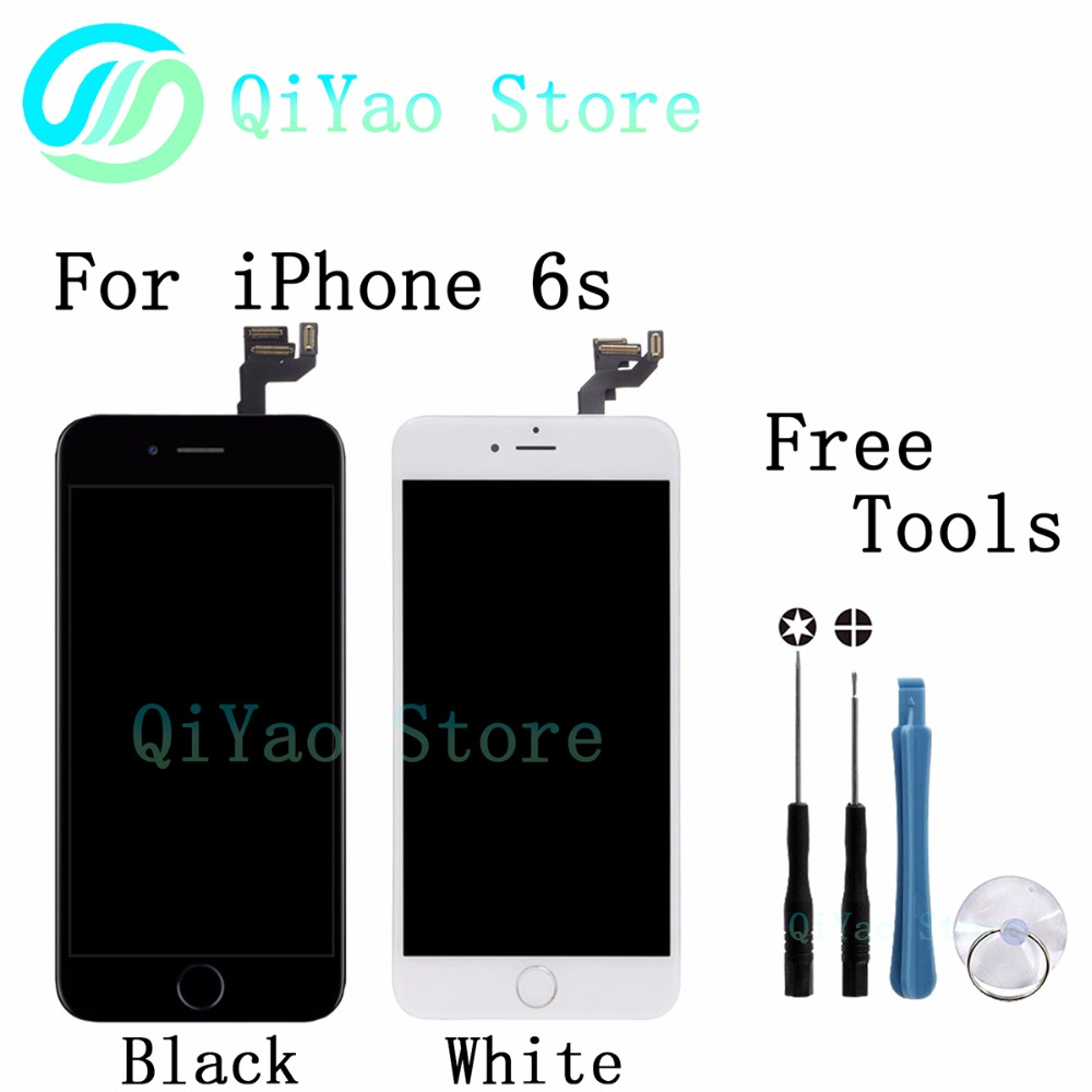 ФОТО For iPhone 6S Black White Replacement LCD Screen Touch with bezel frame+home botton+front camera full assembly with free tools