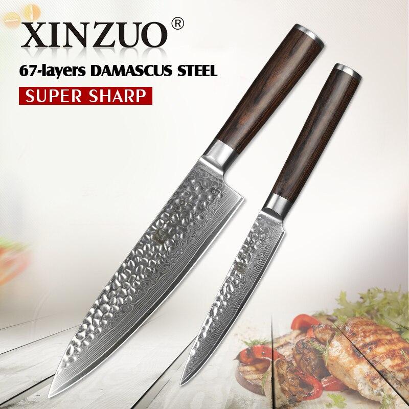 XINZUO 2 pcs Ktchen Couteaux Ensemble 67 Couches Japonais VG10 Damas Couteau de Cuisine Très Sharp Chef Couteau Pakka Bois poignée