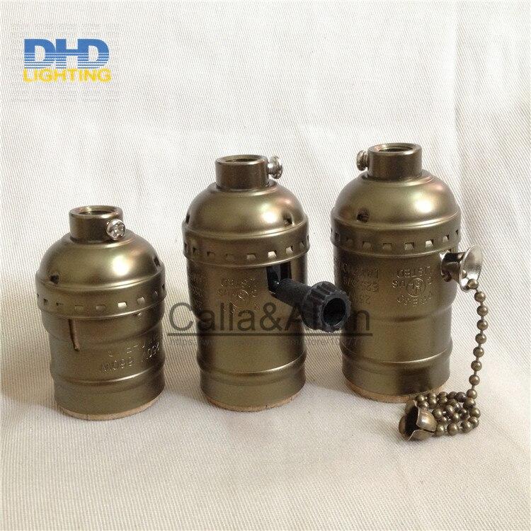 100pcs lot Aluminum vintage pendant lamp silver color E27 holders AC110V 220V UL light sockets antique