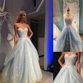 Мода Синий Свадебное Платье 2016 Robe De Mariage Милая Бисером Аппликация Свадебные Платья Свадебные Платья Тюль Свадебное Платье