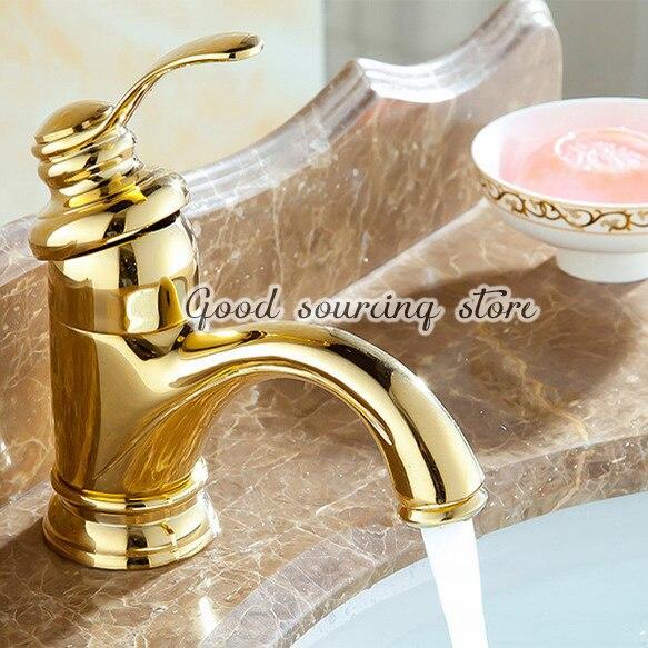 single handle hot cold water golden bathroom basin faucetsingle handle hot cold water golden bathroom basin faucet