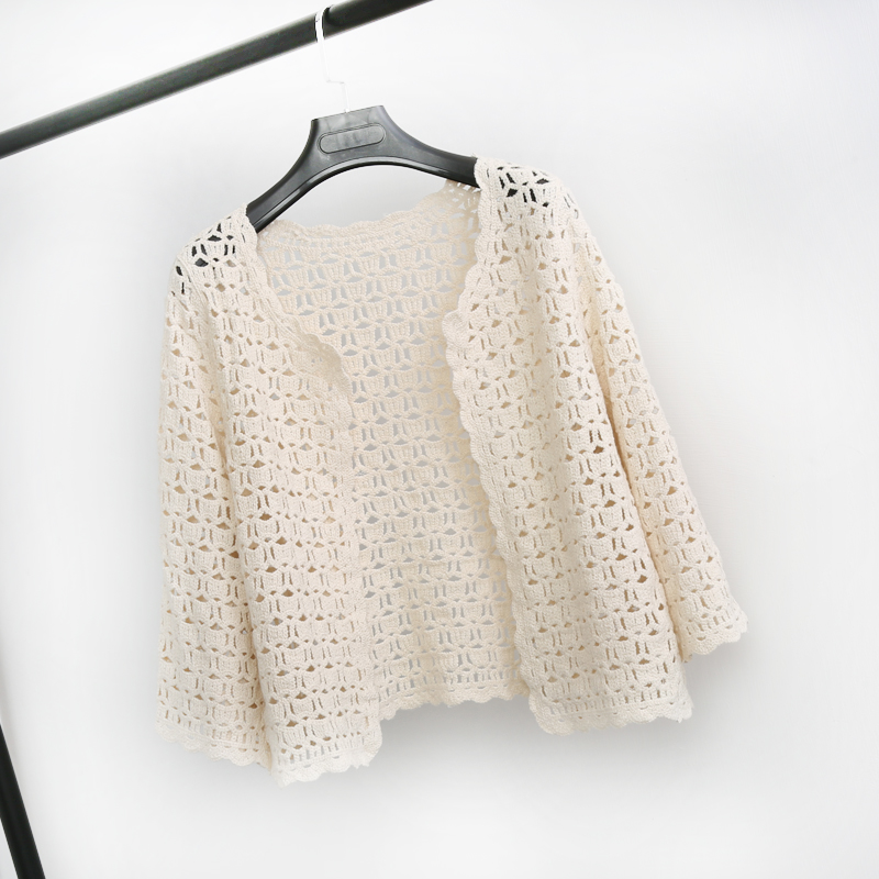 Crochet White Lace Hollow Out Knitted Cardigan Blouse 3