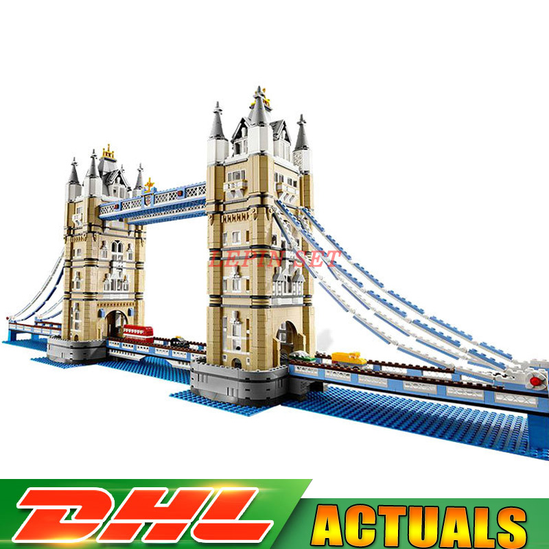 2018 New DHL Lepin 17004 4295Pcs Creator Expert London Tower Bridge Model Building Blocks Bricks Toys Gift Compatible 10214 in stock new lepin 17004 city street series london bridge model building kits assembling brick toys compatible 10214