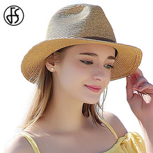 FS 2017 Summer Panama Straw Beach Hats For Women Wide Brim Sun Hat Jazz Cap Fashion Chapeu Feminino Viseras Mujer Ala Ancha(China)