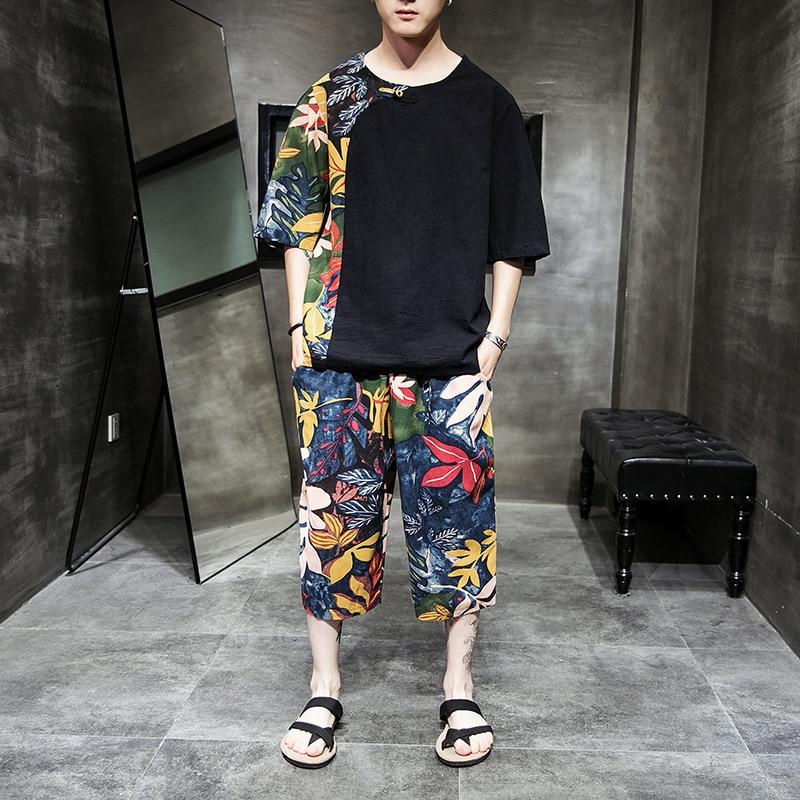 2019 été hommes coton et lin ensemble couture T-shirt à manches courtes hommes Plus gros grande taille lâche pantalons de plage