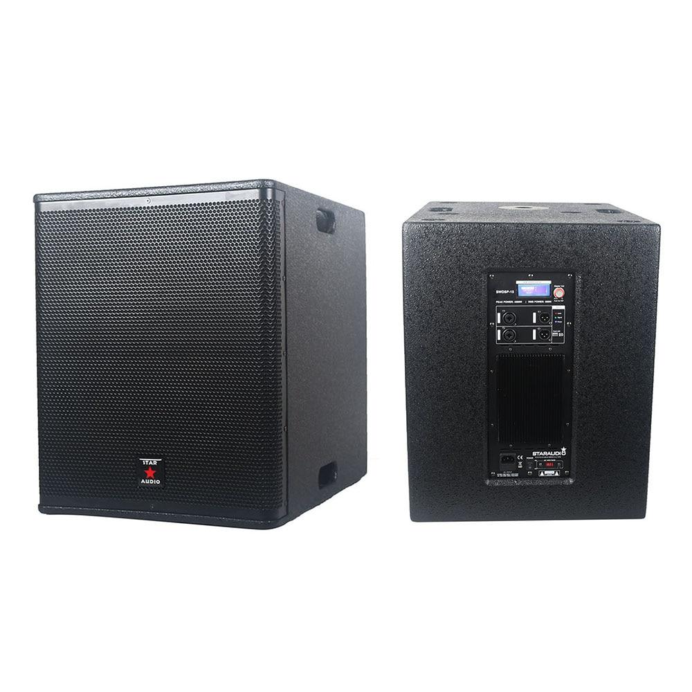 STARAUDIO 15 pouces 4500 W alimenté PA DJ scène KTV Audio actif en bois Subwoofer amplificateur stéréo 24 bits Subwoofer haut-parleur SWDSP-15