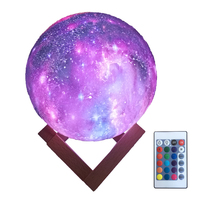 HYODREAM 3D Printing Moon Lamp Moon Light Kids Night Light 16 Color Change Touch and Remote Control Star Light As a Gift Ideas f