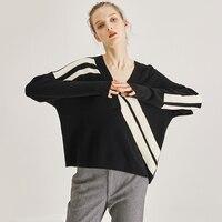 Wool Sweater Pullover Jumper Women V Neck Black Warm Sweaters Oversize Brand Runway Sweater Wool Knitted