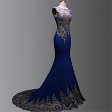 Elegantes Königsblau Meerjungfrau Abendkleider 2016 Vestido Para Festa Appliques Spitze Frauen-abend-partei-kleider